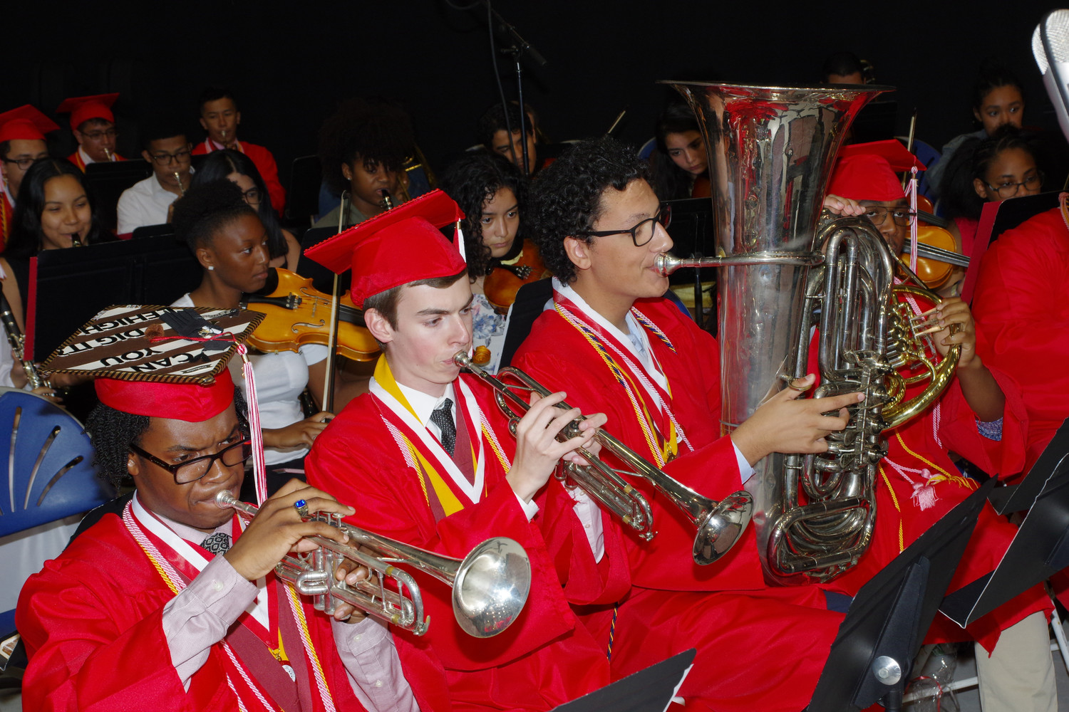 "The High School wind ensemble performed ""Pomp and Circumstance"" at the ceremony, From left were Kevin Brow, James Hastings and LaRocca."
