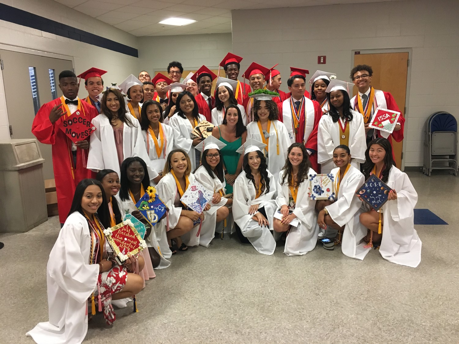 Freeport High School's Advanced Placement U.S. government class gathered with their teacher, Danielle Nally, center, before the ceremony.