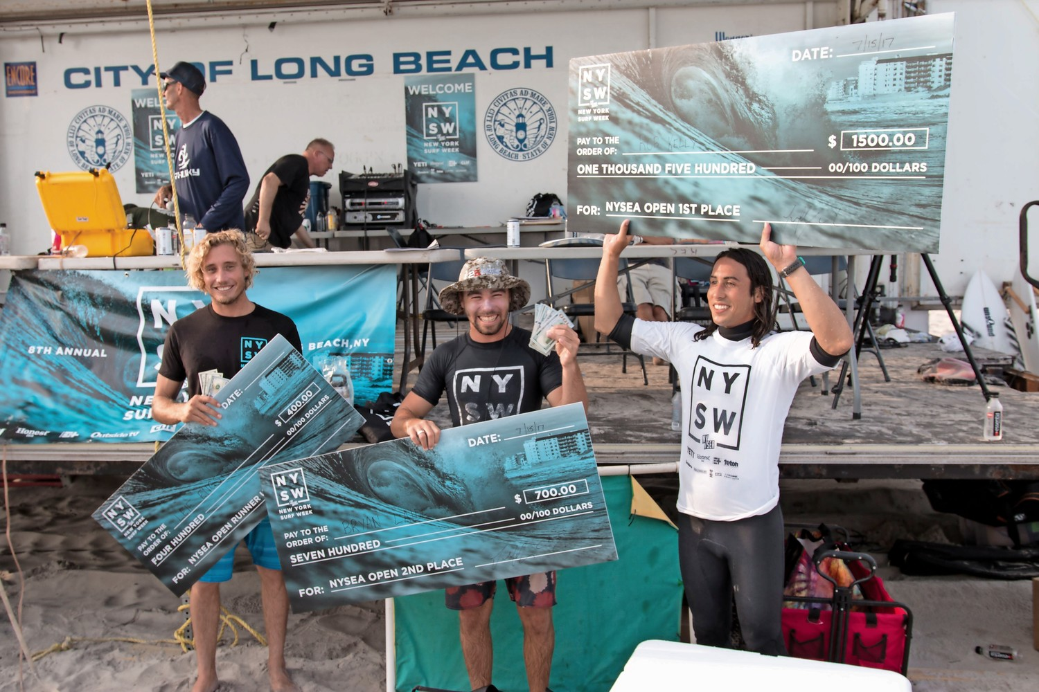 The three winners of last year's NYSEA Open Surf Contest: Leif Engstrom, left, Bryan Laide and Rob Kelly.