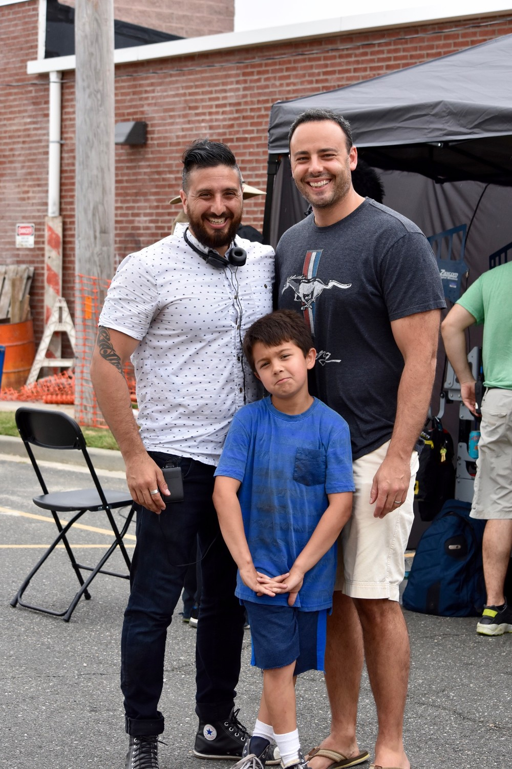 most of the movie was filmed in East Rockaway during the summer of 2016. Above, John Budion, left, on set with Executive Producer Neal Barbiero and actor Maxwell Apple, who plays Budion as a child.
