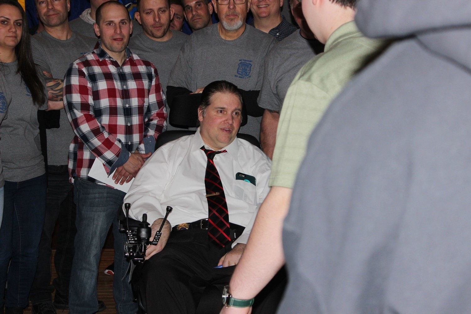 Ronald Fleury, pictured at a fundraiser in his honor in February, joined the Lynbrook Police Department in April 1994, and stepped down last year after being diagnosed with ALS.