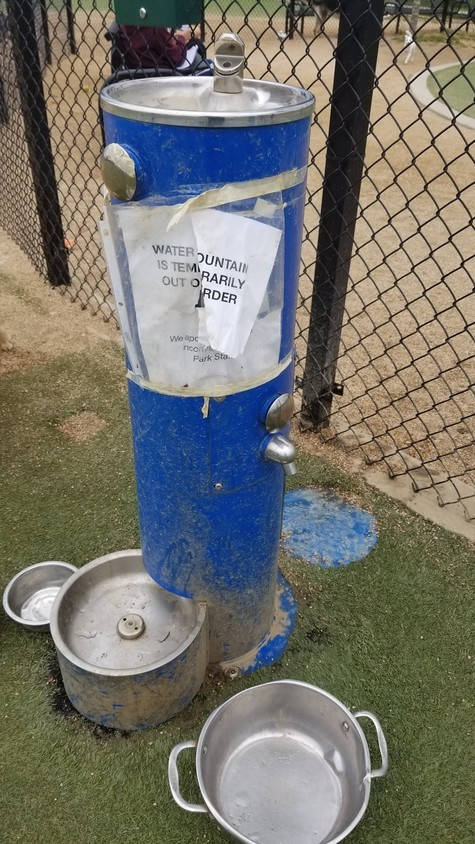 After nearly five months, the fountain was repaired by county officials amid a push from local dog owners.