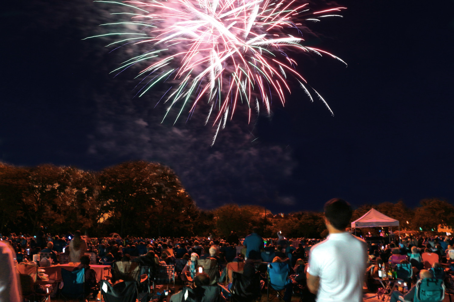 Fireworks illuminated the sky over Mill River Park on July 7 as hundreds watched the spectacle.