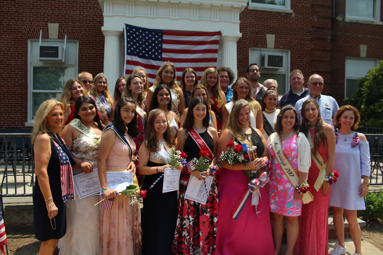 The six 2018 Miss Wantagh finalists with pageant organizers, junior and senior court members, former winners and court members, community figures and local politicians after Bailey was crowned Miss Wantagh.