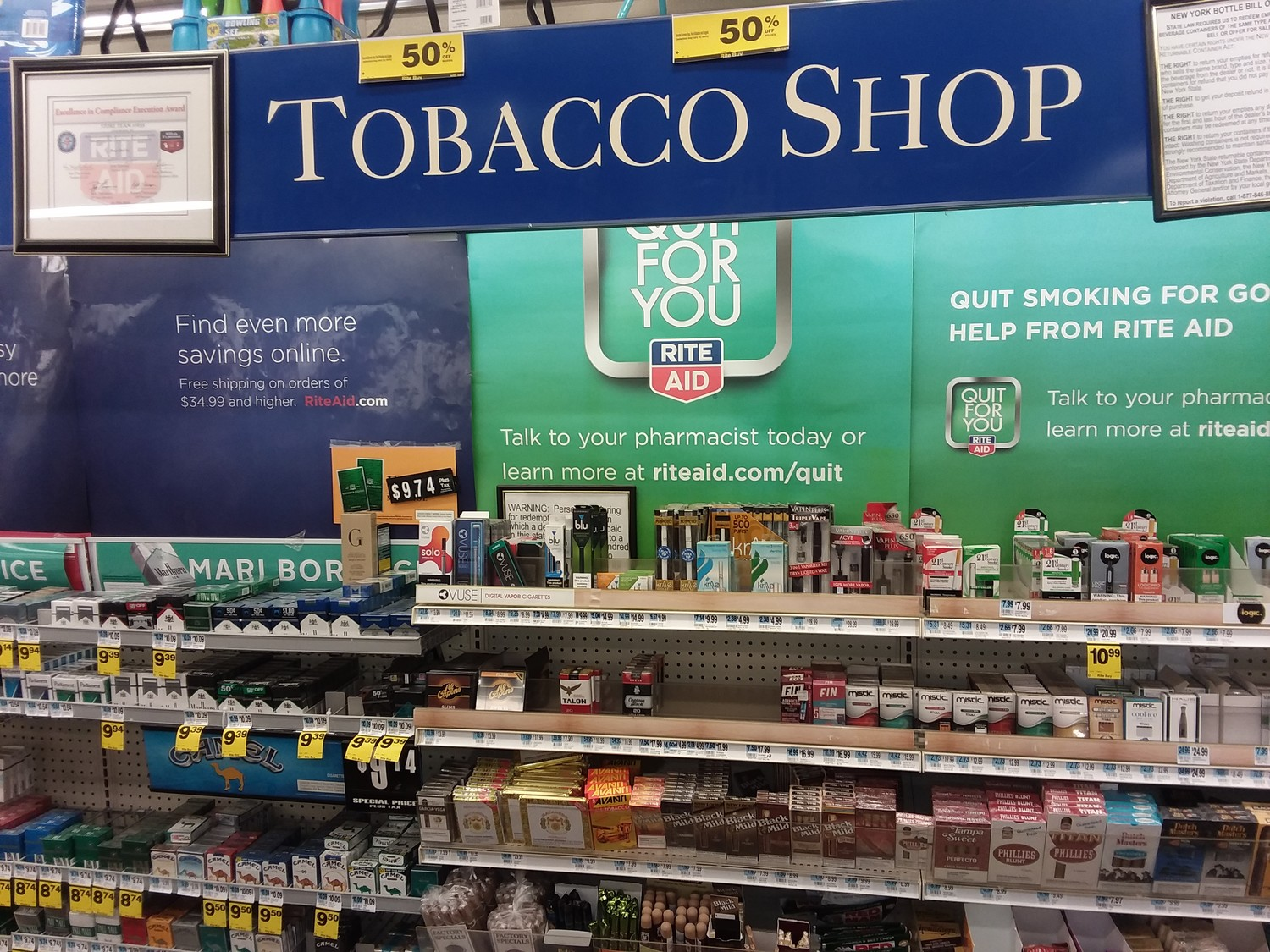 Rite-Aid Pharmacy in Oyster Bay already keeps it's tobacco products behind the counter so potential purchasers have to stop and ask for them.