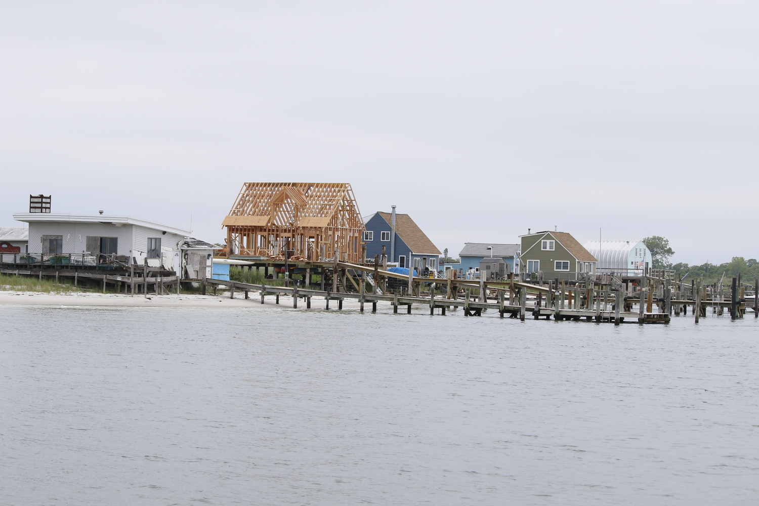 The bay houses of Meadow Island, as seen from Miss Freeport.