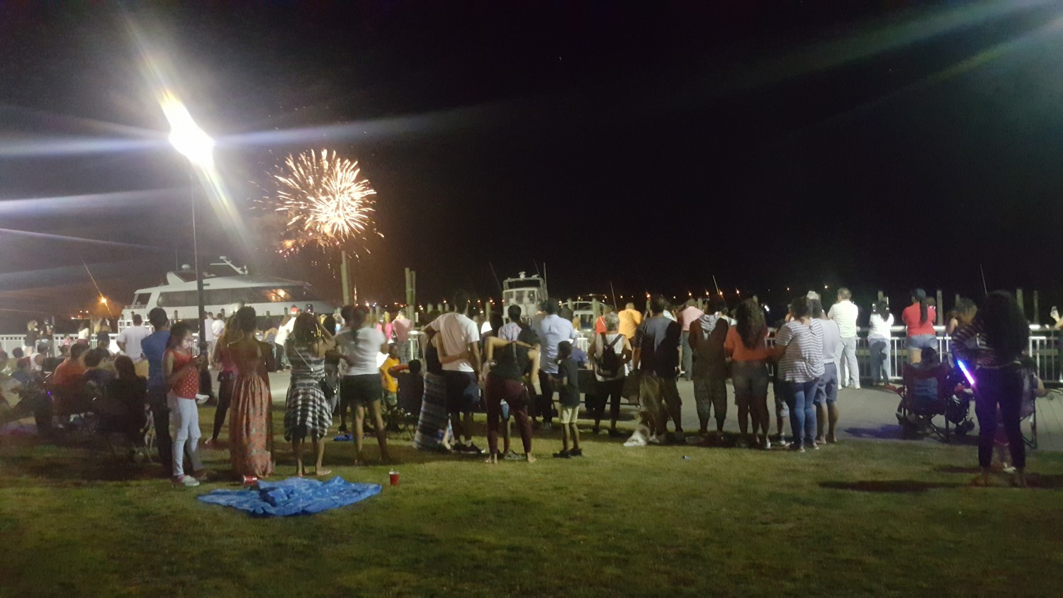The Nautical Mile fireworks spectacular seen from Sea Breeze Park, attracted families from across Long Island.