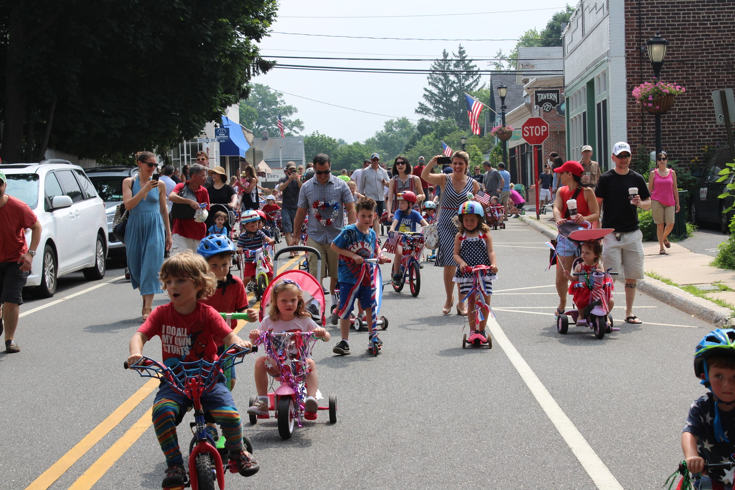 The Village of Sea Cliff's annual Fourth of July celebration ended with a bike parade, in which participants of all ages rode their bicycles, tricycles, scooters and skateboards on Sea Cliff Avenue.