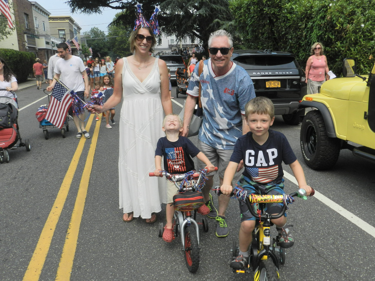 New to the village, the Valli family took part in the Fourth of July celebrations to get acquainted with their new neighbors. Veronica, Luke, 3, Rob, and Xavier 6, dressed for the occasion.
