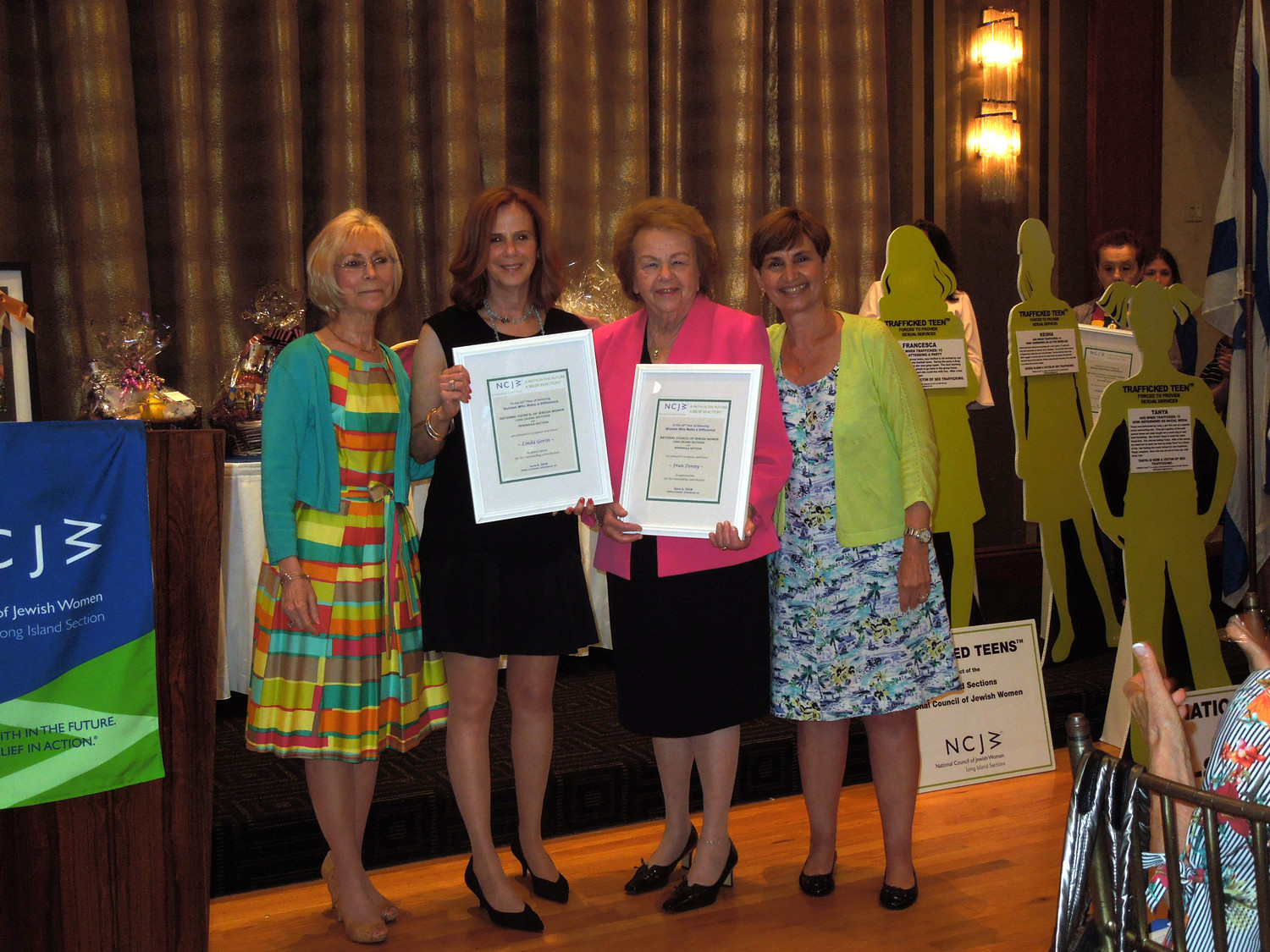 The National Council of Jewish Women-Long Island sections noted the volunteer work of six women at its annual luncheon. From left CeCe Friedman, Linda Gorin, Fran Denny and Jackie Fetner.