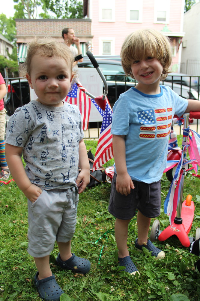 Friends Shey Brennan and Everett Serra were among the event's youngest yet most enthusiastic bike decorators.