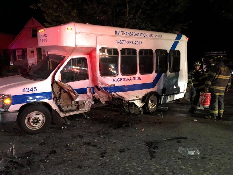 Two people on the bus reported back and neck pain after the accident and were taken to a local hospital for treatment.