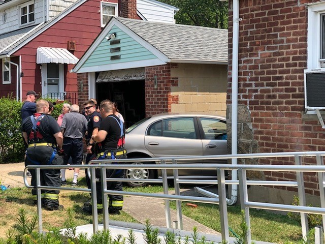 A car crashed into the house at 97 Judith Lane in Valley Stream on July 16.