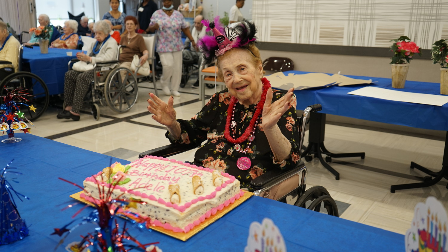 Oceanside Care Center resident Adele Perlow celebrated her 107th birthday on July 2. She spent a lifetime working in the women's fashion industry in New York City.