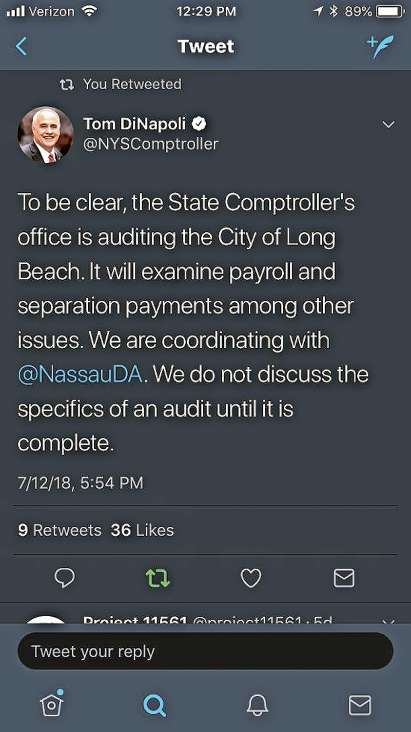 State Comptroller Tom DiNapoli emphasized on Twitter last week that his office was looking into payouts after residents questioned the scope of an audit of the city's finances.