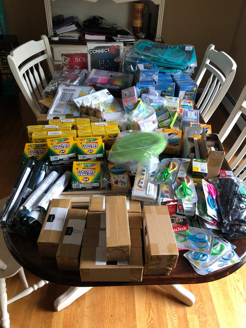 The Urbans' friends, relatives, neighbors and co-workers helped them Pack for a Purpose, based on an Amazon wish list.