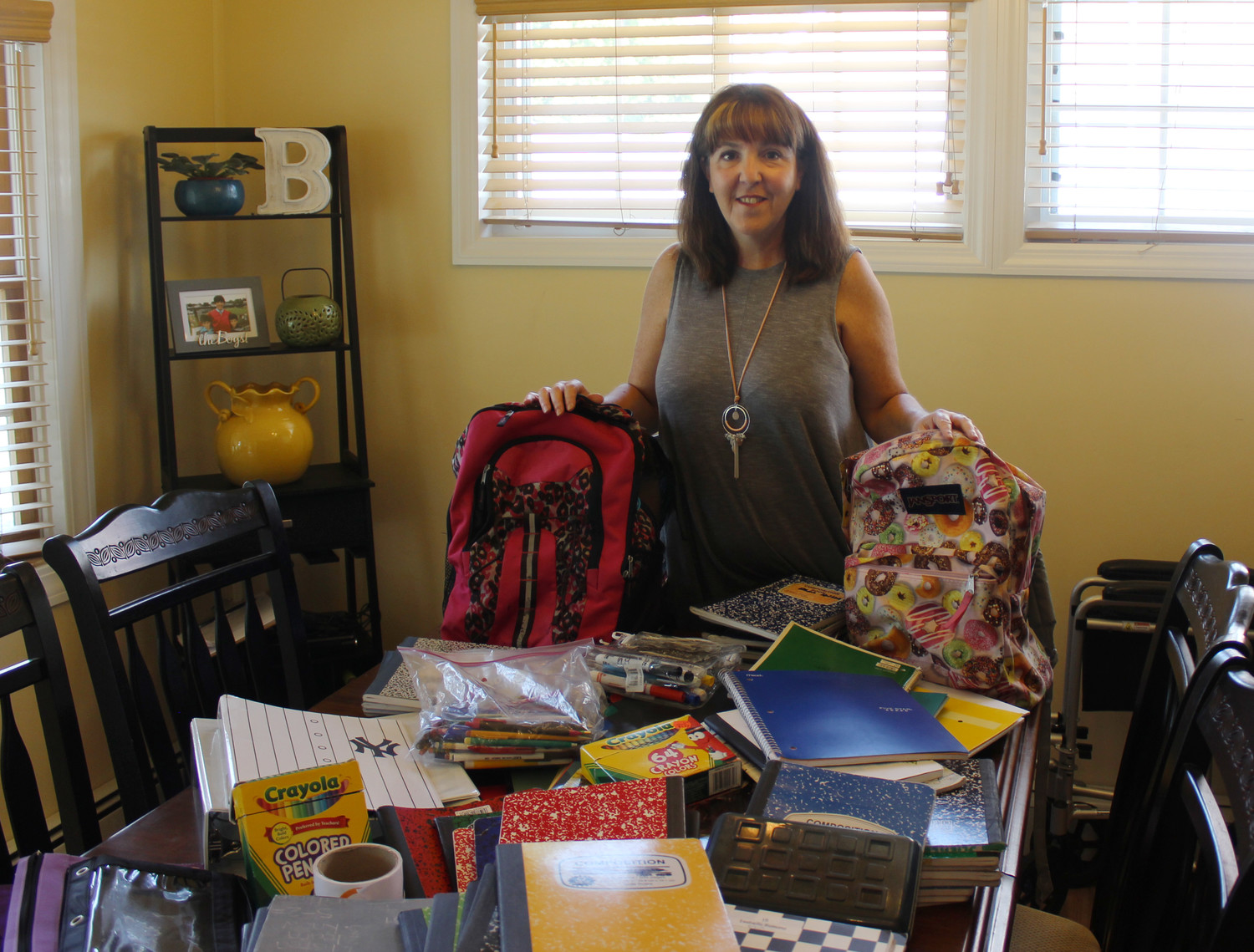 Allyson Benowitz, of Westbury, has been collecting school supplies that she will be donating to students in need this coming school year.