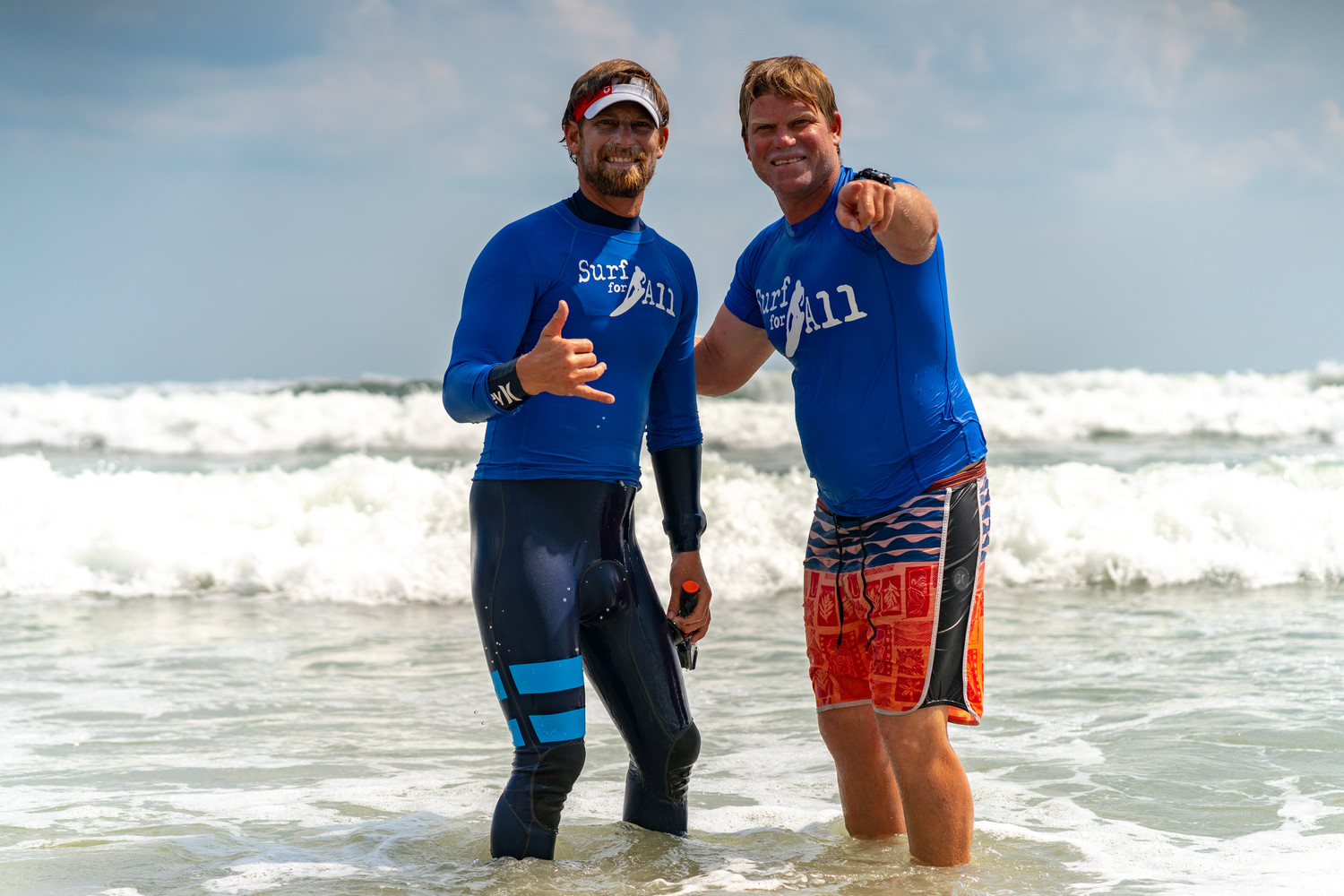 Cliff Skudin, right, with his brother and professional big-wave surfer Will Skudin.