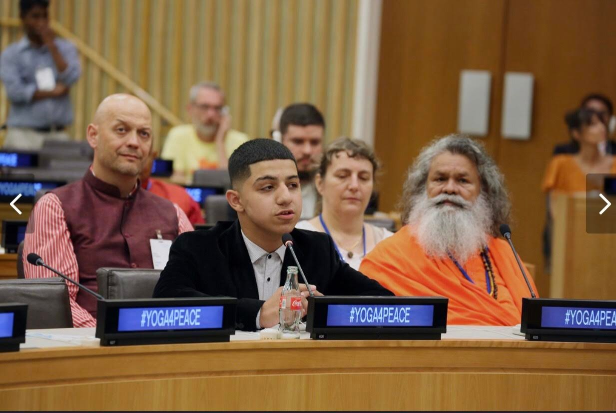 On June 21, Osman Gomez, 16, a rising senior at Freeport High School, participated in the United Nations' Yoga for Peace event.