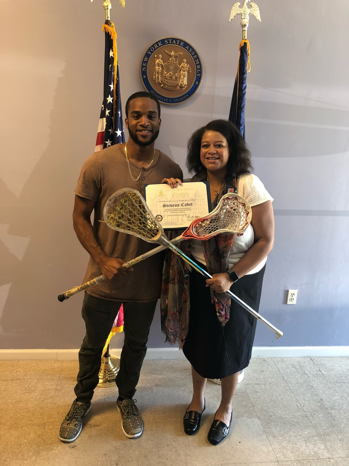 Cadet met with New York State Assemblywoman and lacrosse enthusiast Michaelle Solages.