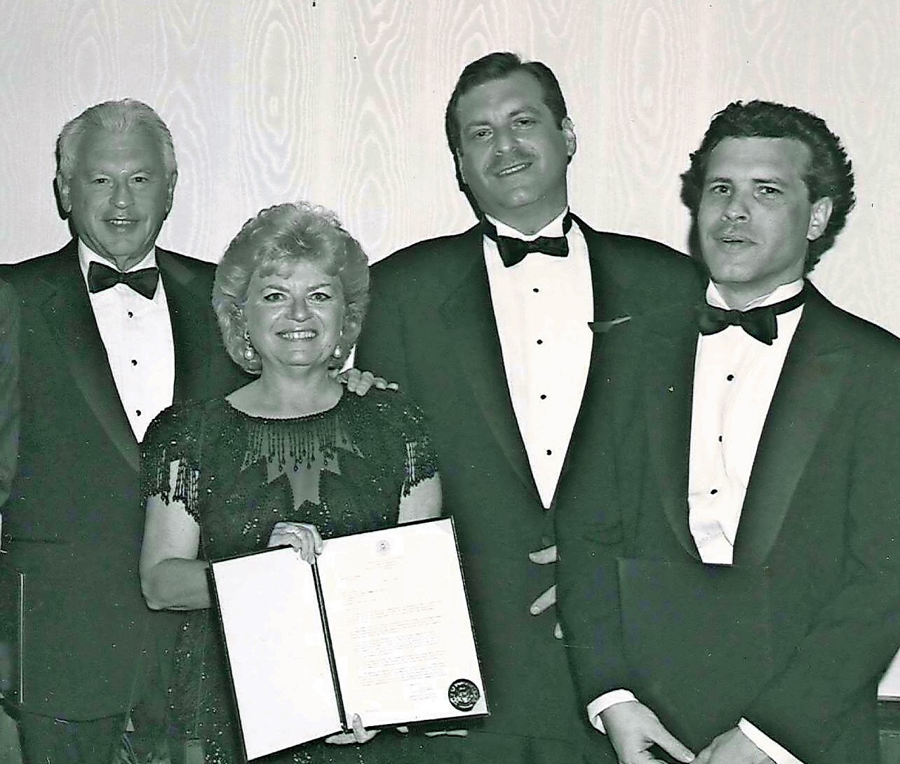 The late Robert and Edith Richner, left, with their sons Cliff and Stuart in 1993, when the Richners were honored by the Five Towns Community Chest at the Red Feather Ball.