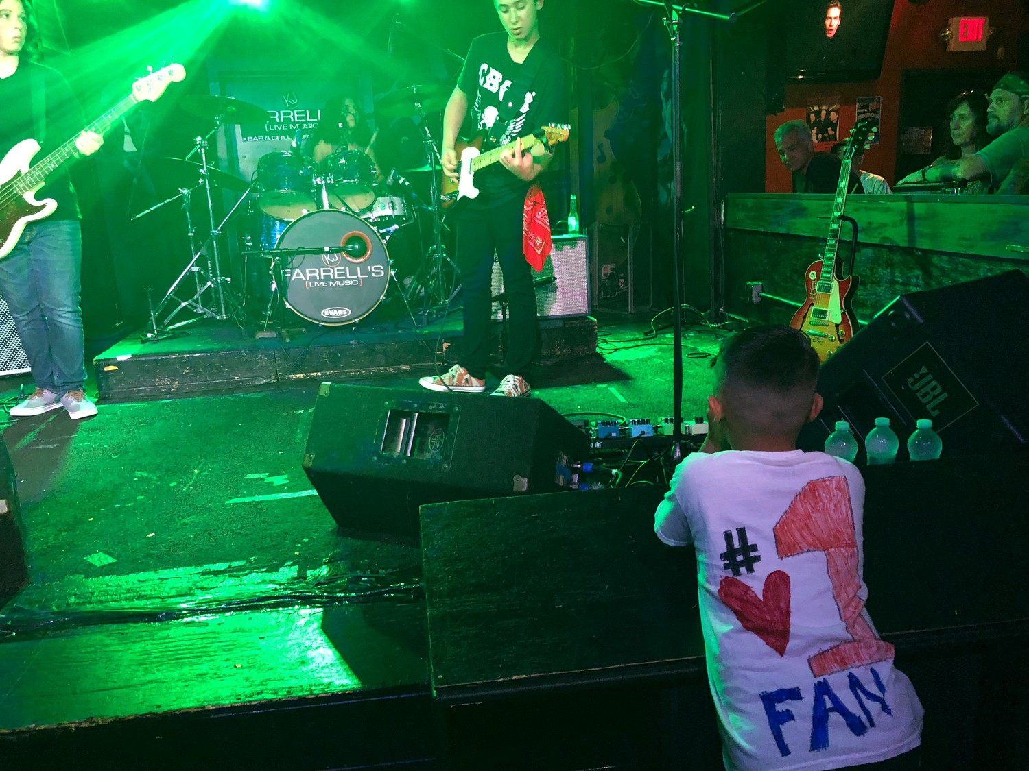 Sons of Sound's No. 1 fan, Bustamante's younger brother, Jake, watched the band at the front of the stage.