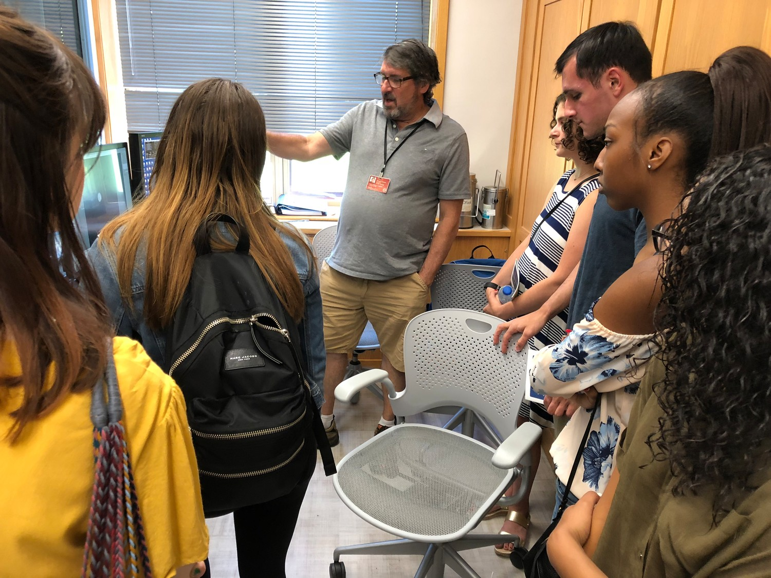 Facilities Manager Dennis Thomas showed the Herald group the control room for the cryo-electron microscope.