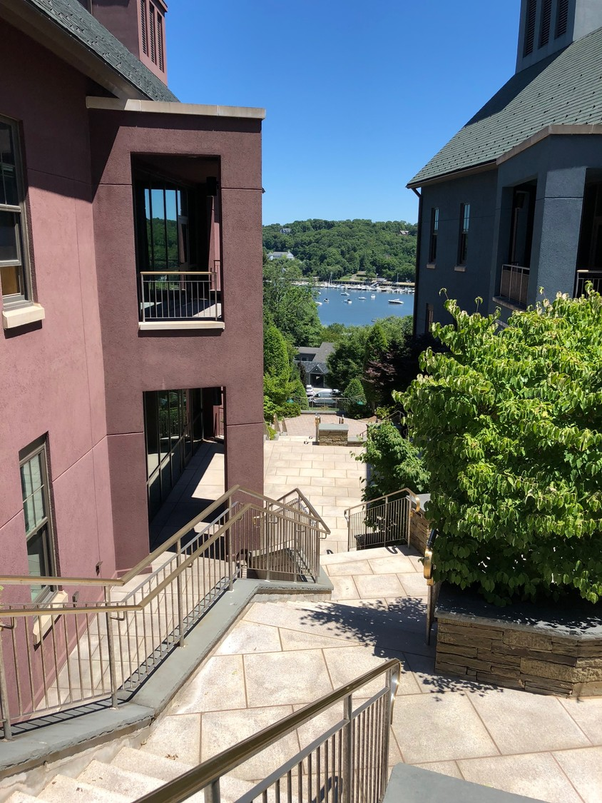 The lab is set high on a hillside above Cold Spring Harbor.