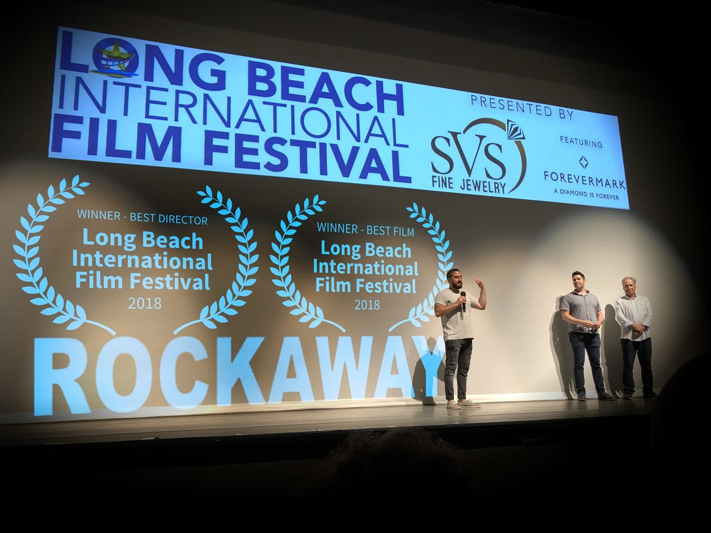 """Rockaway"" made its New York debut at the Long Beach International Film Festival with a pair of screenings over the weekend. Writer-director John J. Budion addressed the audience at the Molloy College theater after the movie won Best Feature Film and Budion was named Best Director on Sunday."