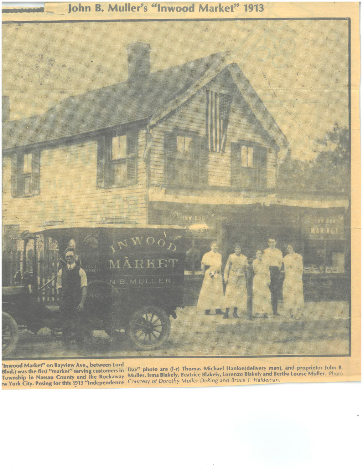 John B. Muller's Inwood Market was a family business, from left, Muller's son-in-law Thomas Michael Hanlon, John B. Muller, Irma Blakely, Beatrice Blakely, Lorenzo Blakely and Bertha Louise Muller.