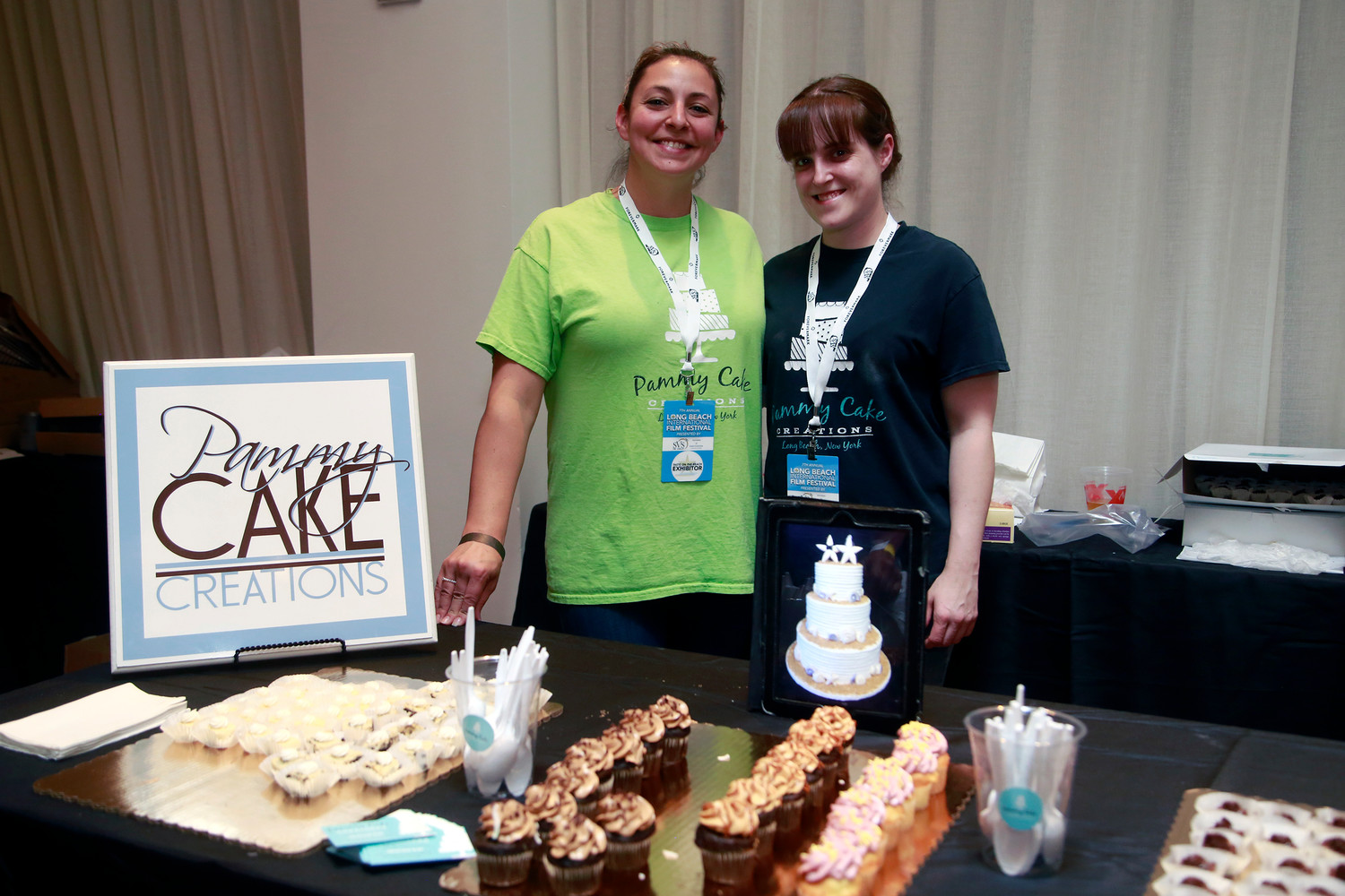 Pammy Cake Creations owner Pam Kreutzberg, left, and Rachael Logatto served their most popular desserts, including cheesecake, chocolate flourless cake, and coconut, raspberry and caramel cupcakes.