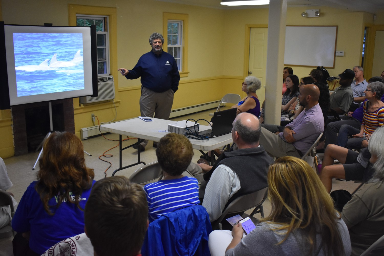 Rob DiGiovanni, a founder and chief scientist for the Atlantic Marine Conservation Society, led a discussion about threats to Long Island's marine life at the Tanglewood Preserve Nature Center on July 30.