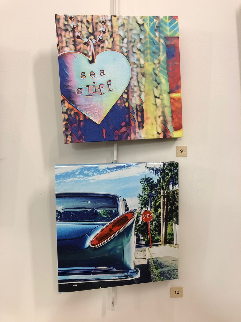 "Artist Kathleen DiResta has two works on display at the art show: ""Sea Cliff Jewel"" and ""Vintage Shop."""