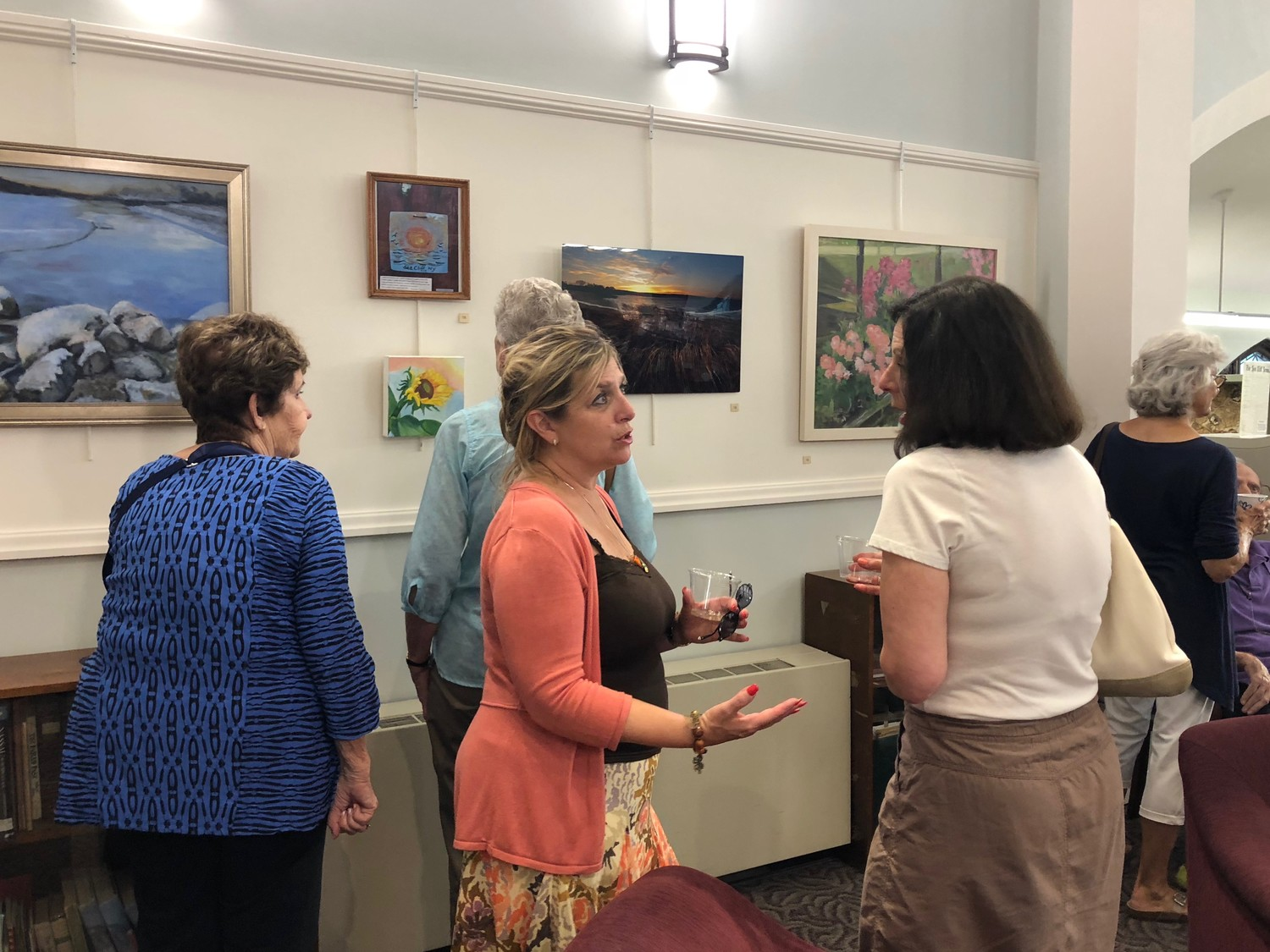 Residents attended an opening reception for the show on Aug. 8 in the newly renovated Sea Cliff Village Library.