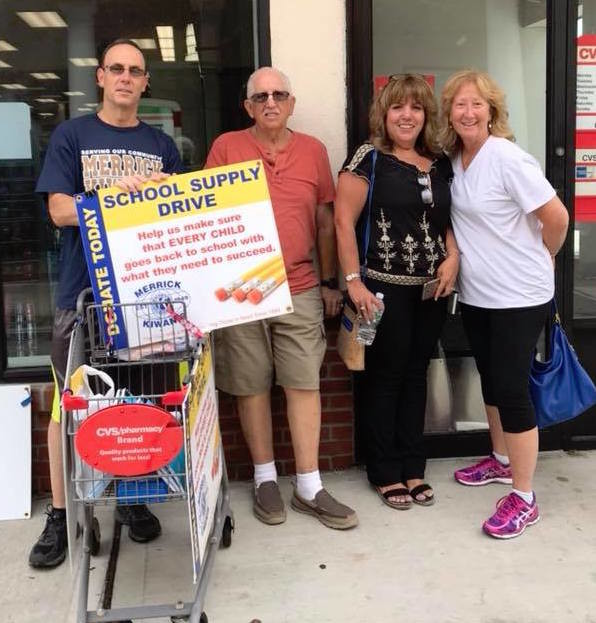 Members of the Merrick Kiwanis Club gathered outside a local CVS last weekend to collect school supplies for students.