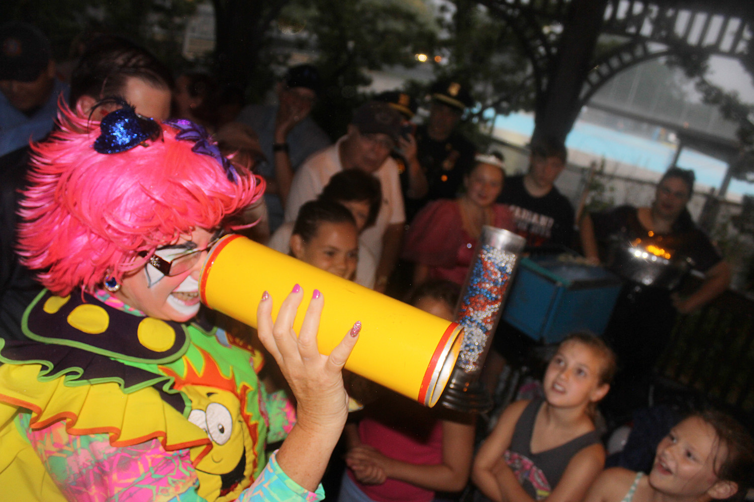 Annabelle the Clown performed her magic show for everyone under the gazebo, drawing cheers and laughs from children and adults alike.