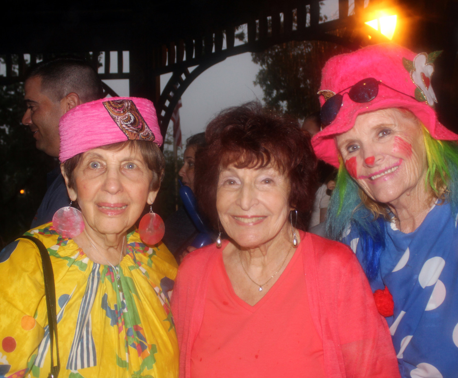 Norma Gonsalves, center, said that the night wouldn't be complete without two dedicated clowns Betty Tucker, left, and Patty Tropea.
