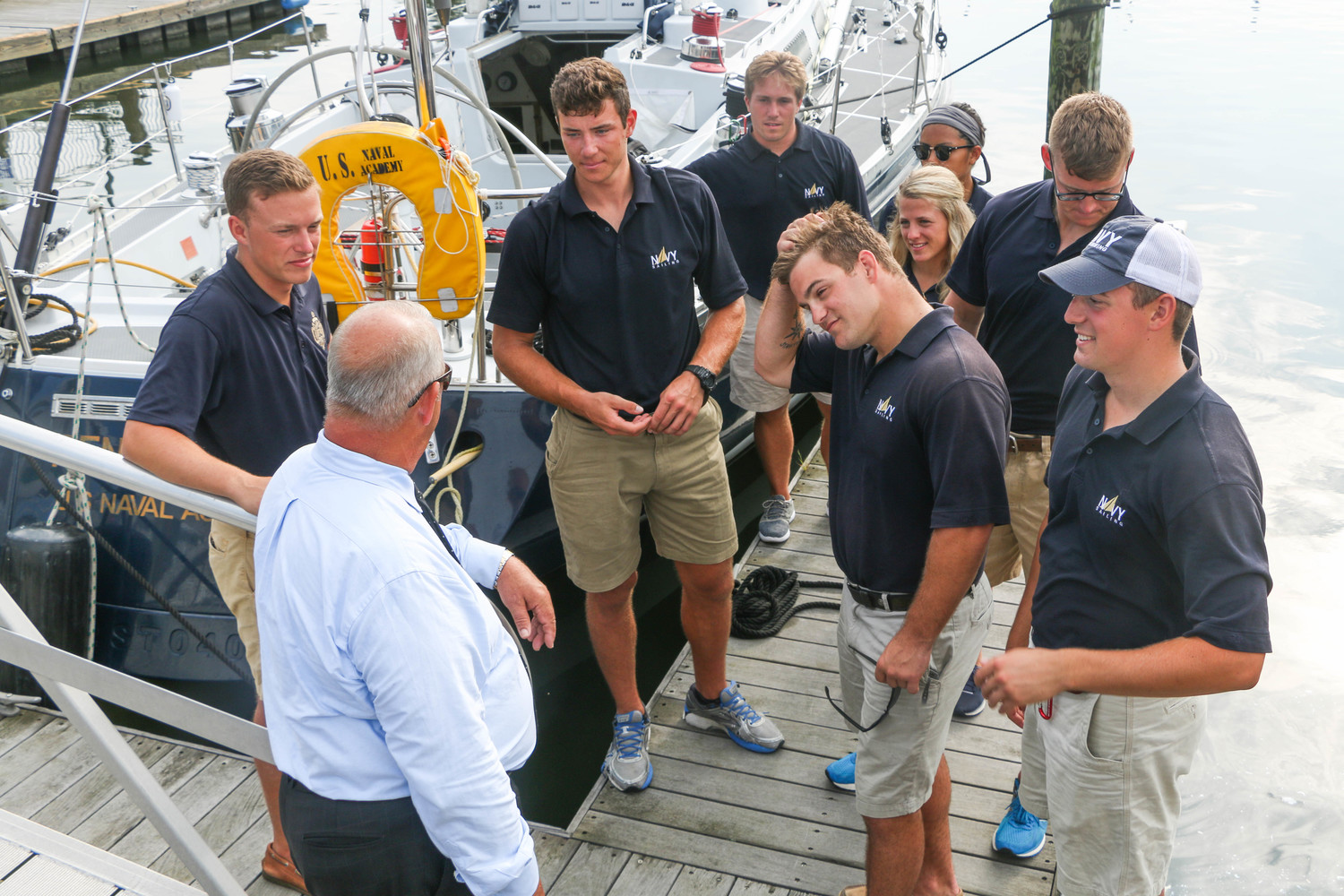 Freeport Mayor Robert Kennedy greeted the visiting Midshipmen and recommended all the places they could visit in Freeport during their four-day visit.
