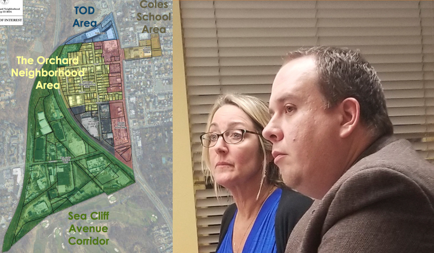 On the left, a map of the Brownfield Opportunity Area, broken up into development zones. On the right, Kathy Eiseman and Max Stach answer questions from the City Council and other officials about Phase 3 of the draft implementation plan.