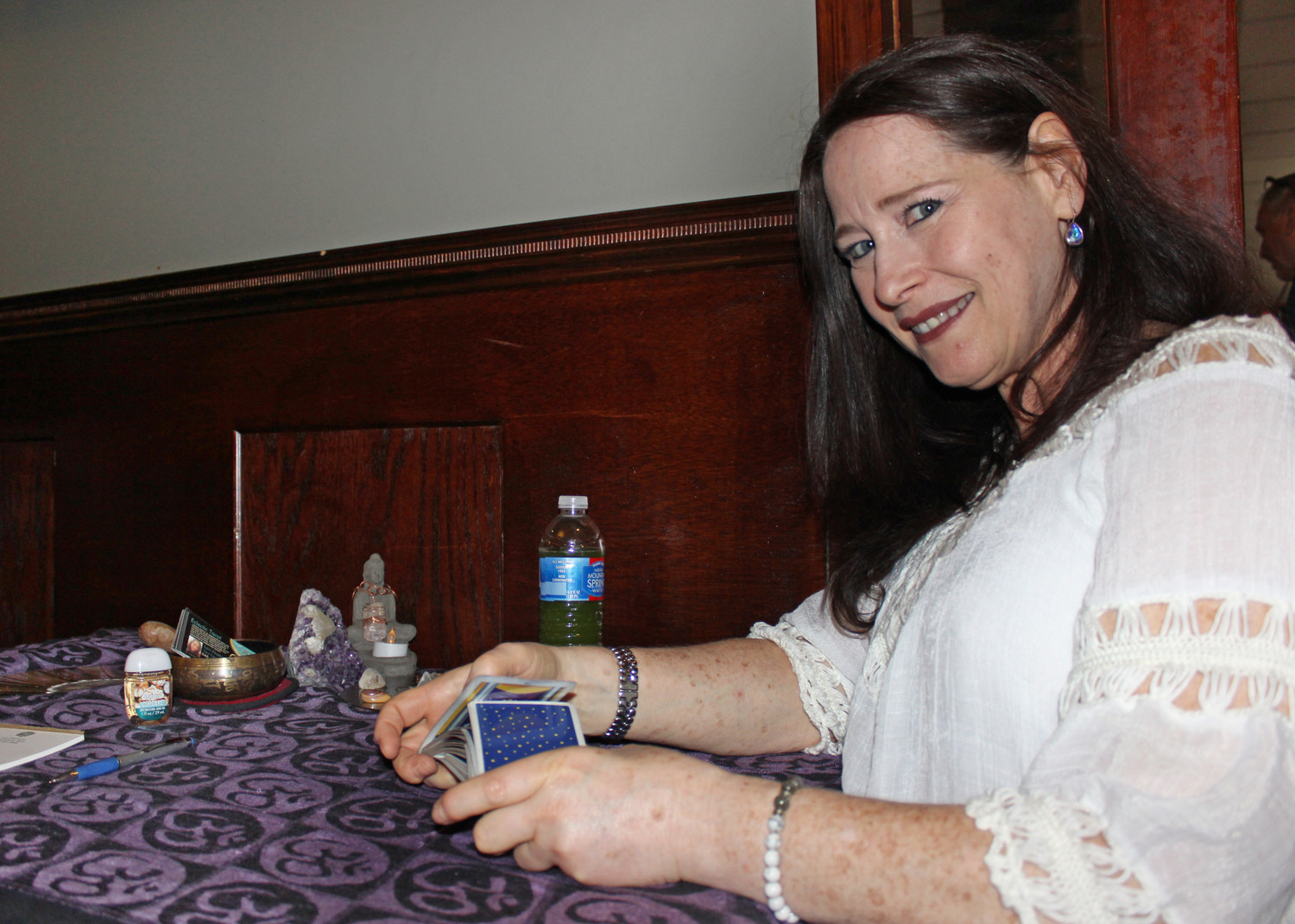 Tarot card reader Lori Nostramo prepared to engage in a spiritual experience with guests at Psychic Night on Aug. 20 at Borrelli's Italian Restaurant in East Meadow.