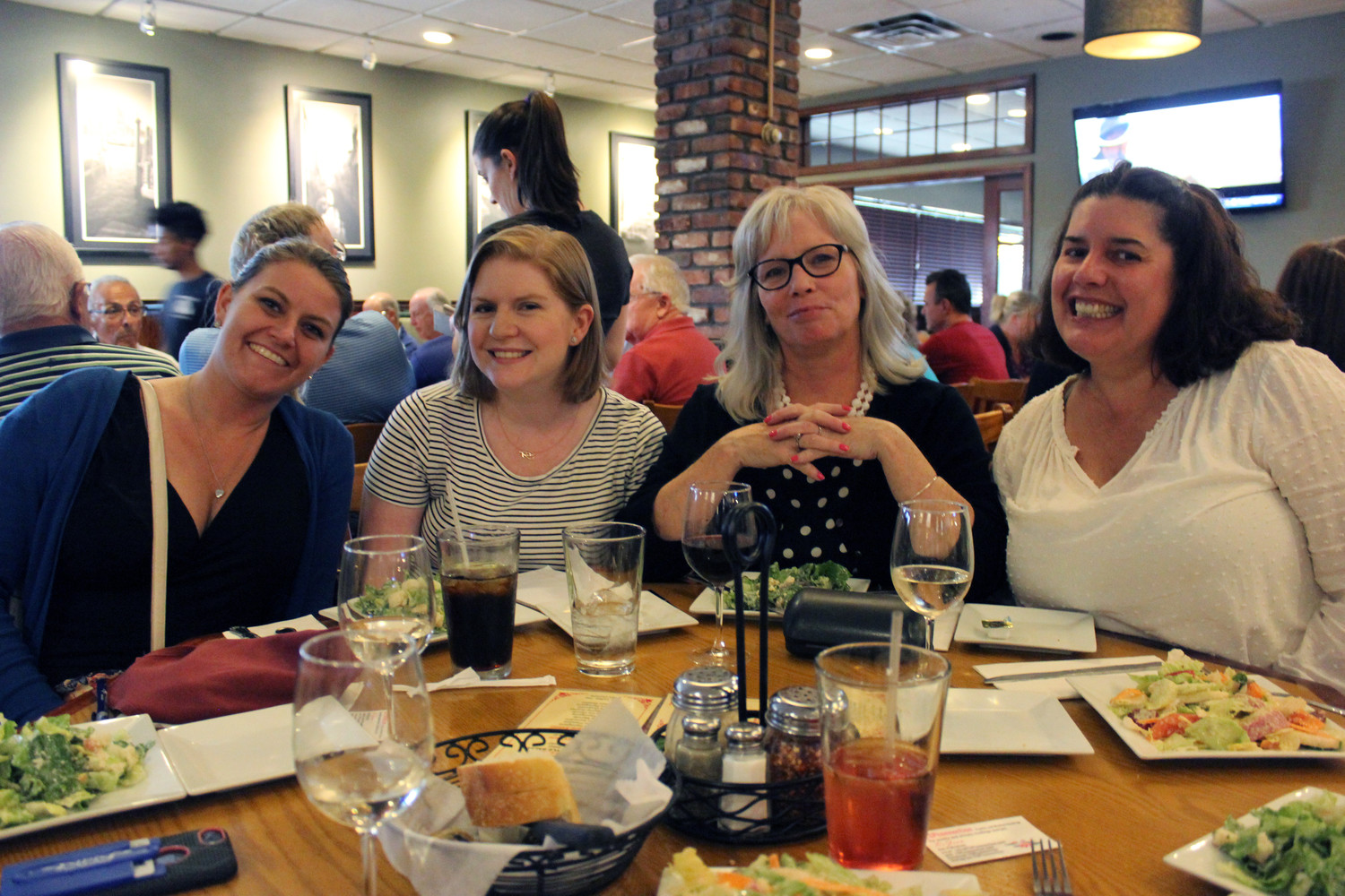 PeggyAnn Matusiak, second-from-right, of East Meadow, and her friends Mairead Matuscoli, Jen Corbett and Joan Iacoli spent a girl's night at Borrelli's Italian Restaurant in East Meadow for its monthly Psychic Night event.
