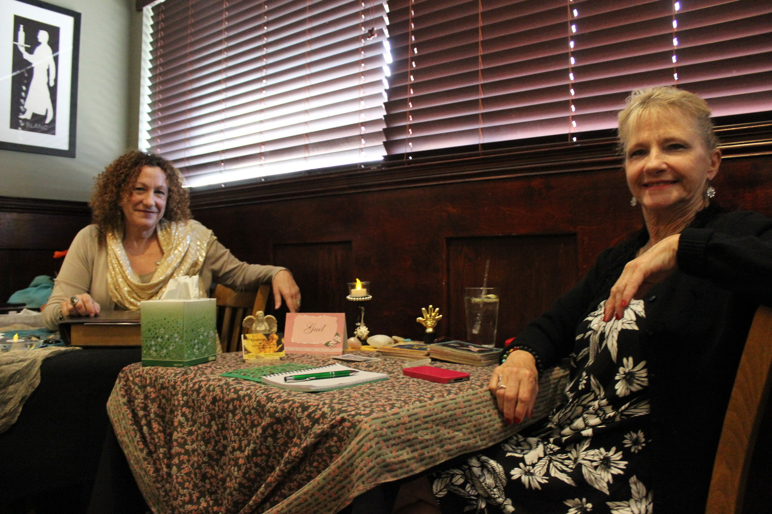 "Janine Balducci Burnside, left, is a spiritual guidance reader and medium who has been reading for over 15 years and feels what she refers to as ""vibrations"" from the deceased. Gail Fox, right, has worked as a psychic and medium for over 20 years."