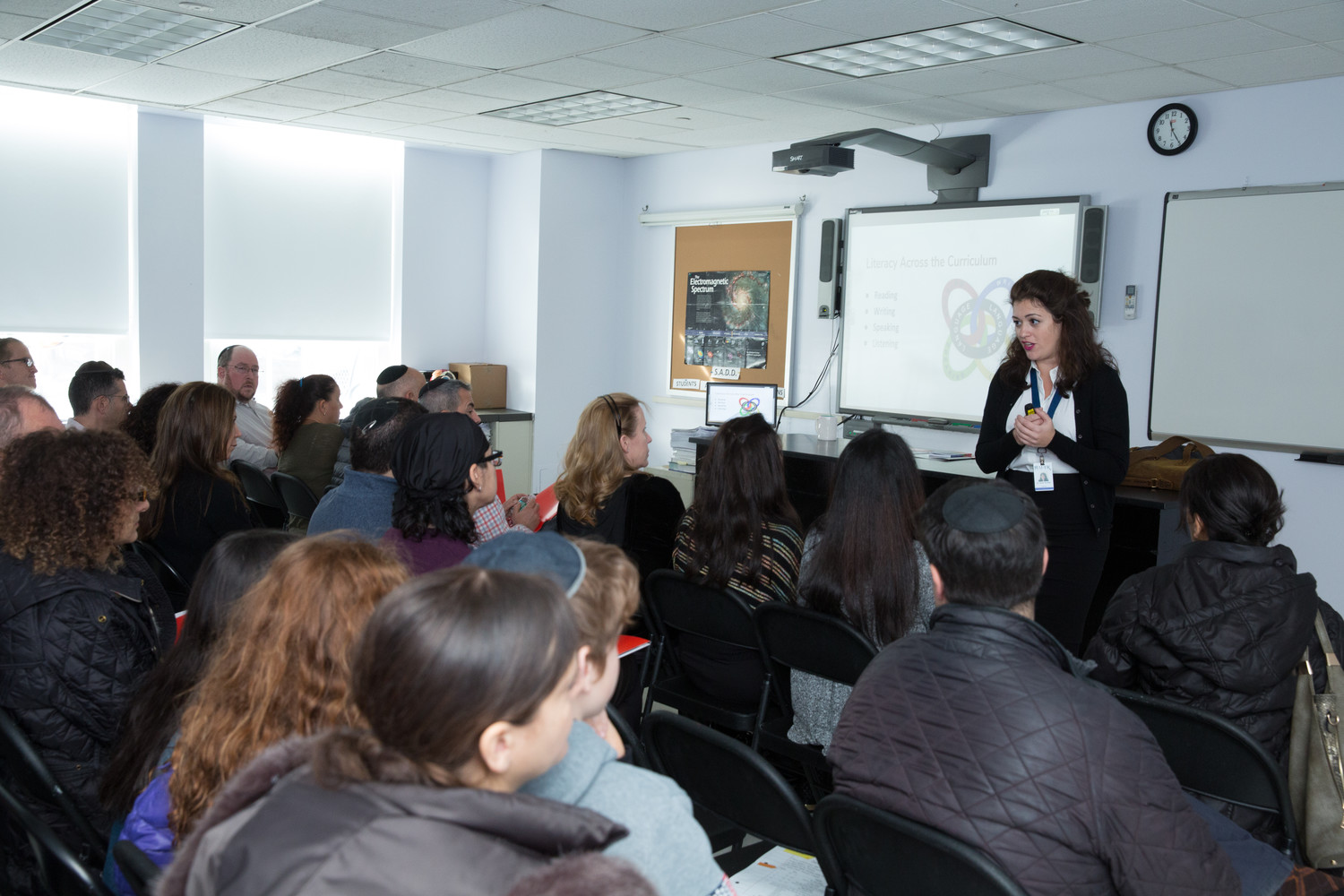Dr. Hindi Krinsky, lead an open house session for prospective ninth grade parents last November.