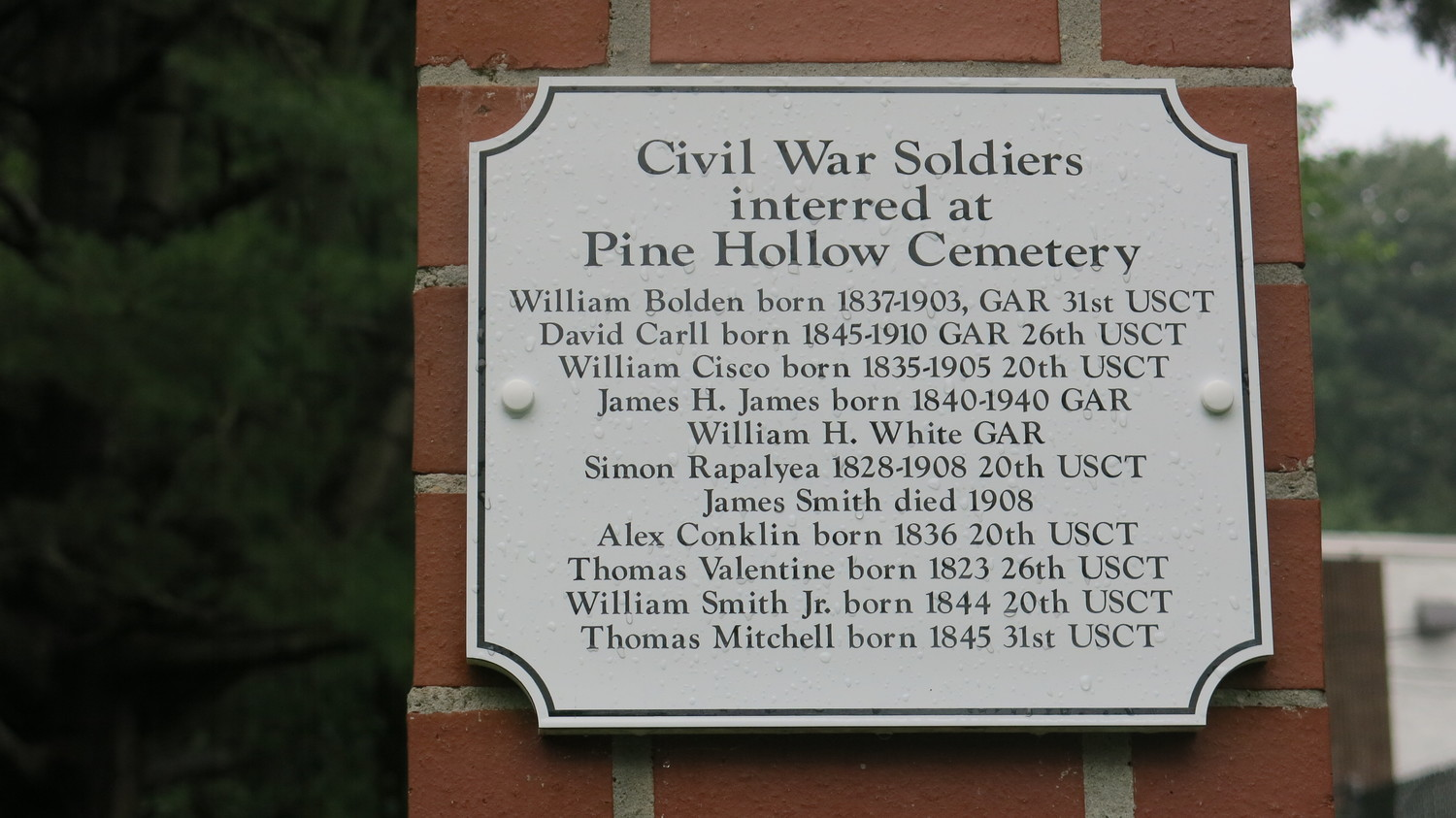 Eleven African American Civil War soldiers are interred at Pine Hollow Cemetery.