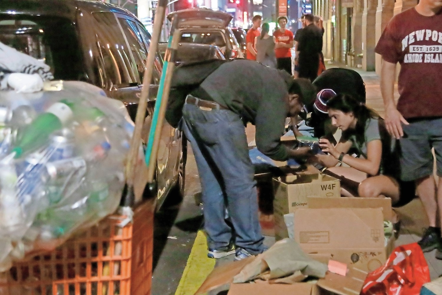 Emily Macaluso helped a homeless man look for jeans in his size.