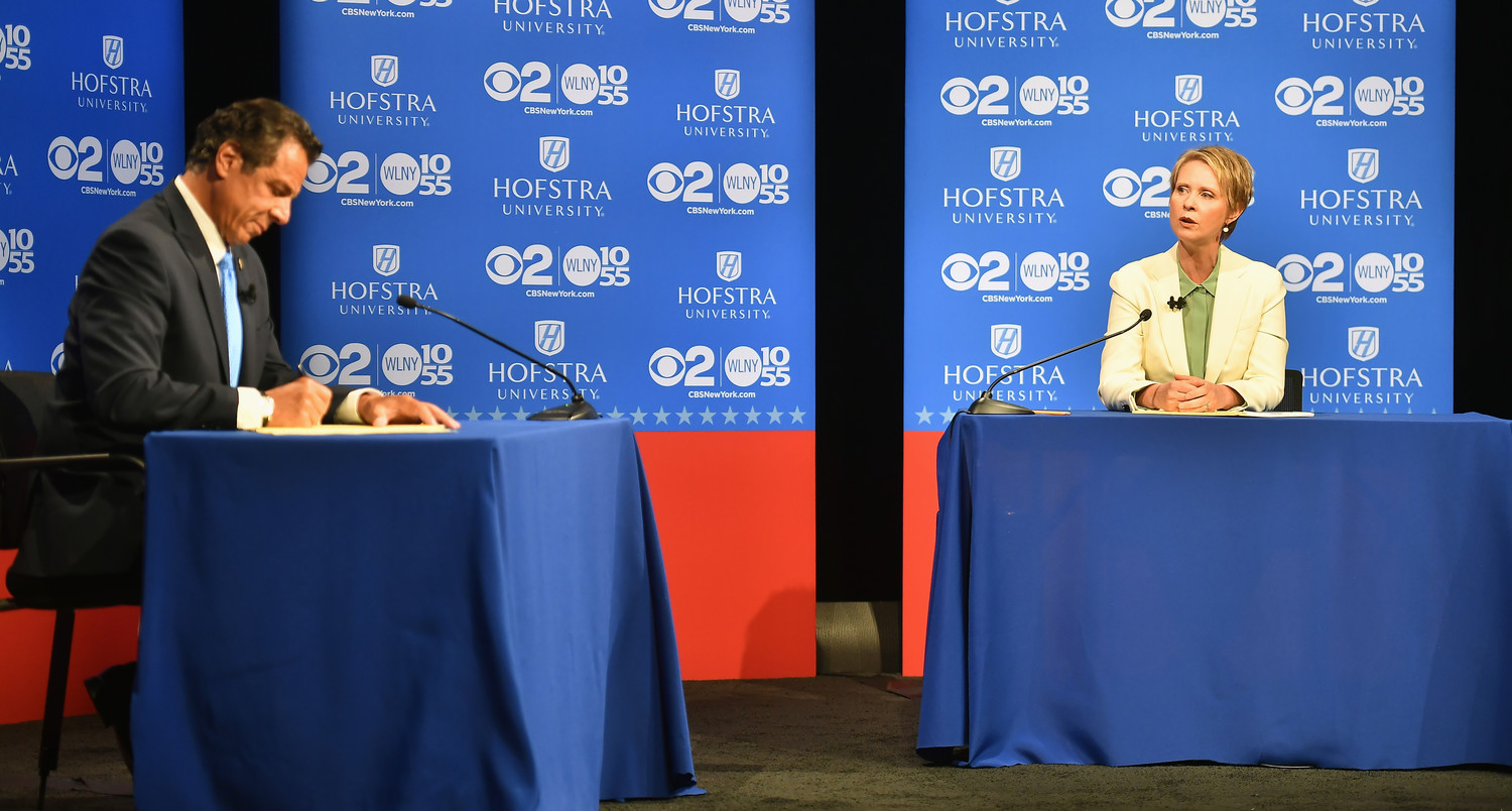 Gov. Andrew Cuomo faced off against actress Cynthia Nixon in a primary on Sept. 13. Above, the two debating at Hofstra University in August.