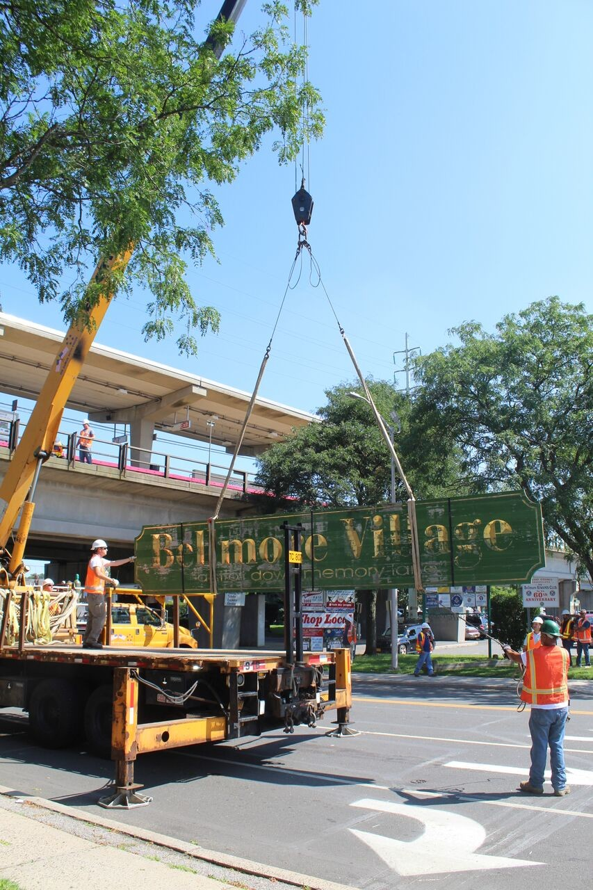 The fading bellmore Village sign was taken down on Aug. 18 and replaced with an updated one.
