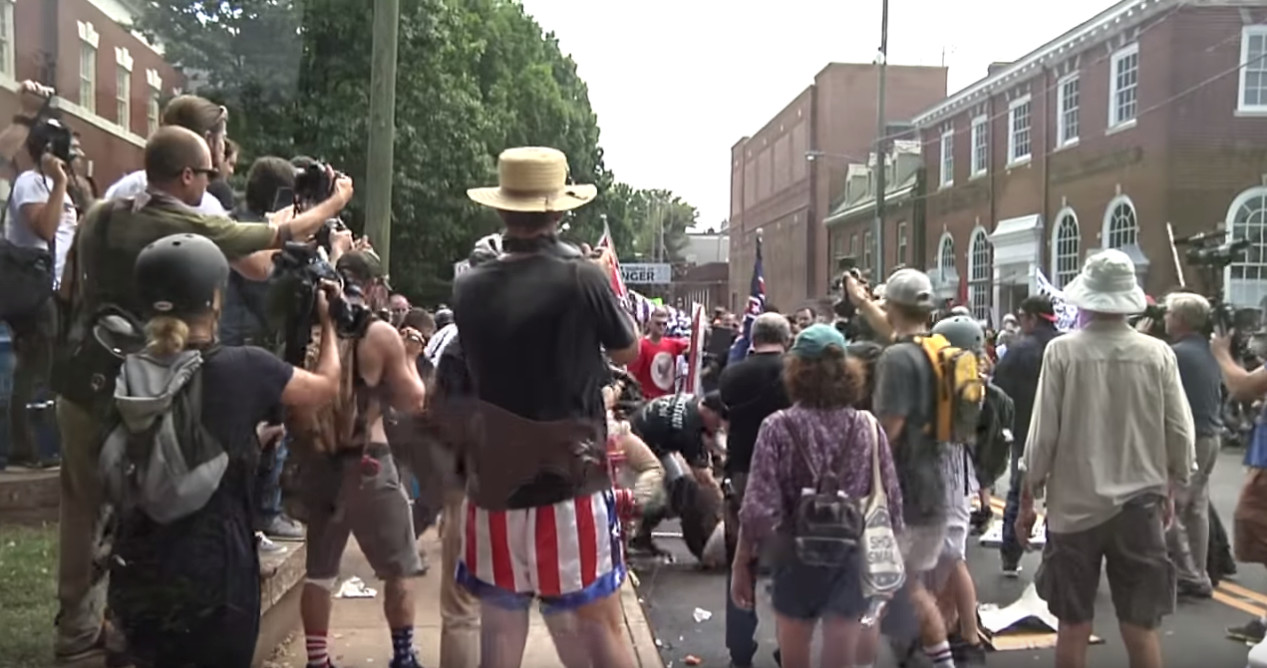 Footage from the clashes between white supremacist demonstrators and anti-fascist protesters in the streets of Charlottesville before Heather Heyer was killed.
