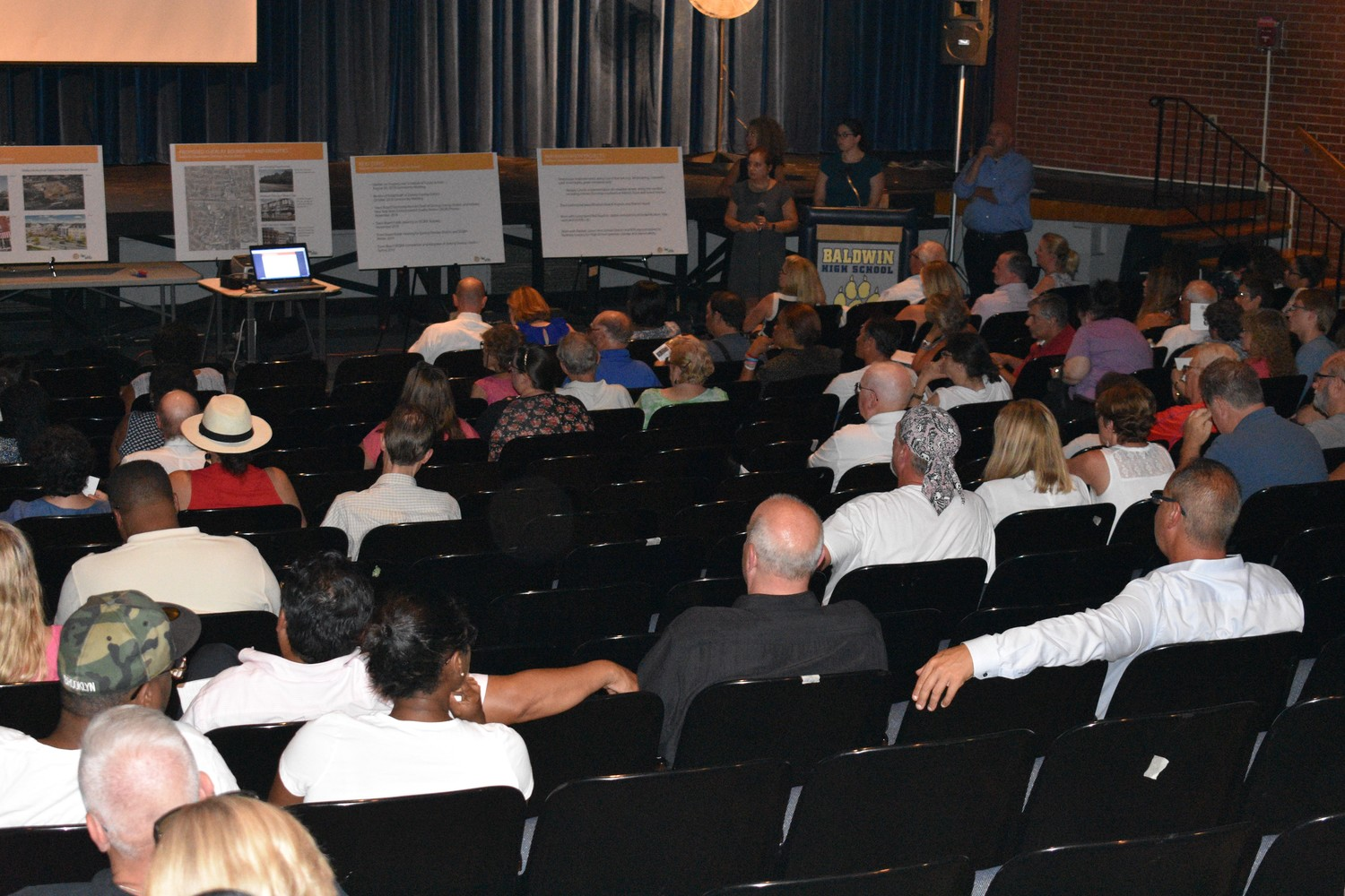 Dozens of Baldwinites attended a town hall meeting on the town's plans for the revitalization of Grand Avenue.
