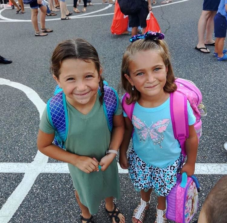Reese Vetrano, left, and Grace Palombo on the first day of school at Rhame Avenue.